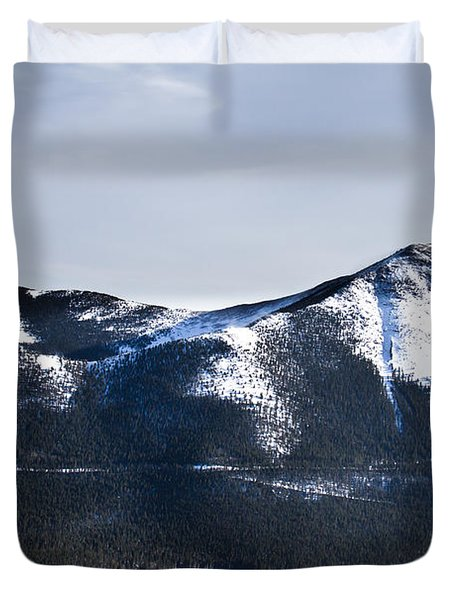 A View Of Snowy Mountains From Pikes Peak Duvet Cover by Ellie Teramoto
