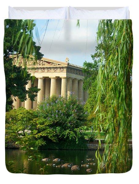 A View Of The Parthenon 17 Duvet Cover by Douglas Barnett