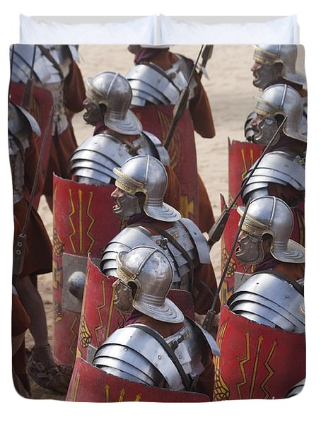 Actors Re-enact A Roman Legionaries Duvet Cover