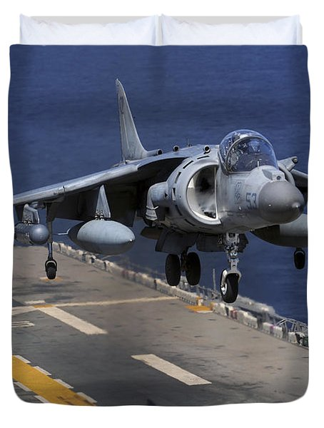 An Av-8b Harrier Jet Lands Duvet Cover by Stocktrek Images
