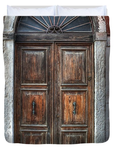 an old wooden door in Italy Duvet Cover by Joana Kruse
