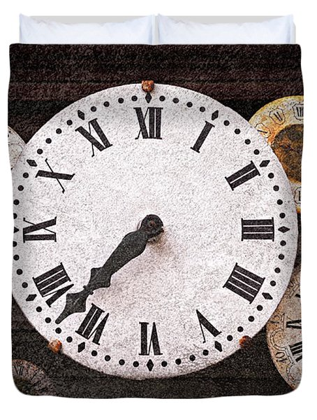 Antique Clocks Duvet Cover by Elena Elisseeva