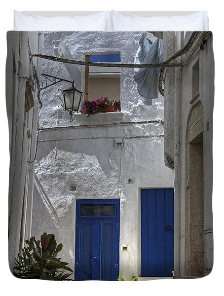 Apulia - Blue-white Duvet Cover by Joana Kruse