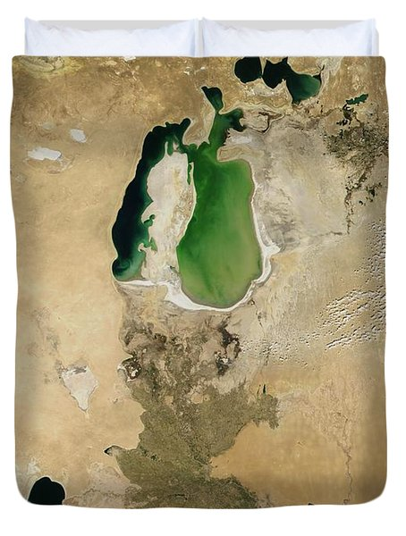 Aral Sea Duvet Cover by NASA / Science Source