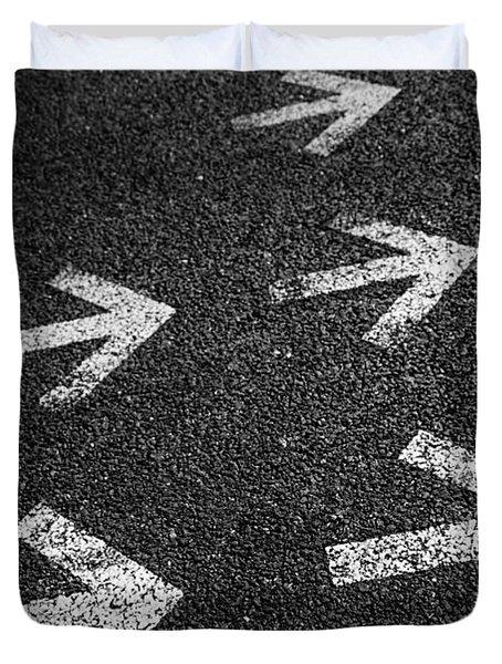 Arrows On Asphalt Duvet Cover by Carlos Caetano