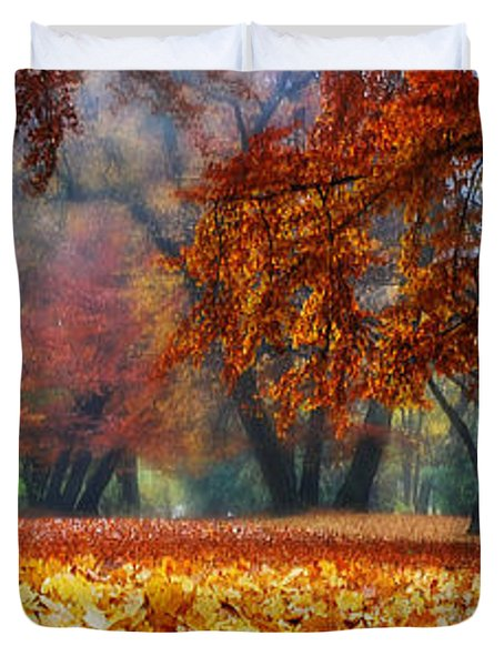 Autumn In The Woodland Duvet Cover by Hannes Cmarits