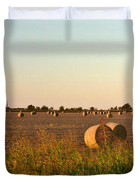 Bales In Peanut Field 2 Duvet Cover by Douglas Barnett