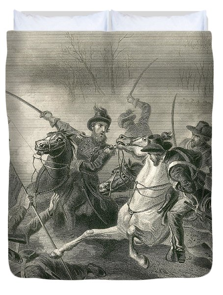 Battle Of Shiloh, Charge Of General Duvet Cover by Photo Researchers