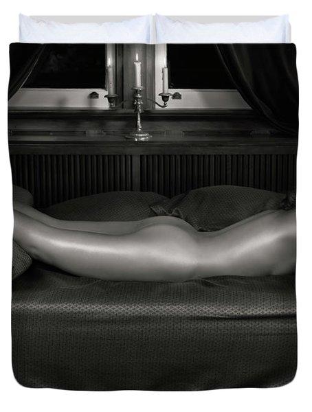 Beautiful Woman Sleeping Naked Duvet Cover by Oleksiy Maksymenko