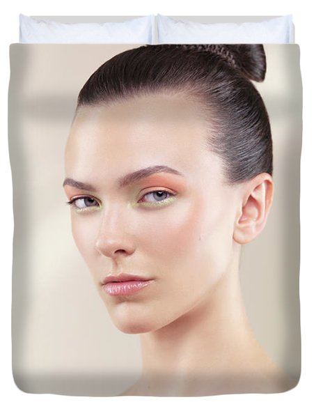 Beautiful Young Woman Portrait Duvet Cover by Oleksiy Maksymenko