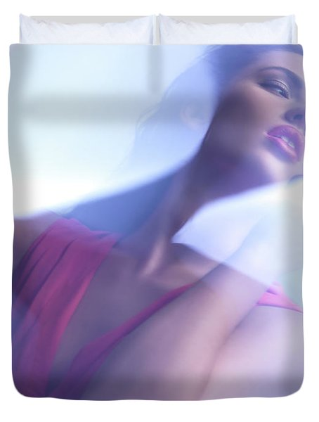 Beauty Photo Of A Woman In Shining Blue Settings Duvet Cover by Oleksiy Maksymenko