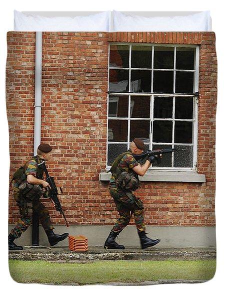 Belgian Soldiers On Patrol Duvet Cover by Luc De Jaeger