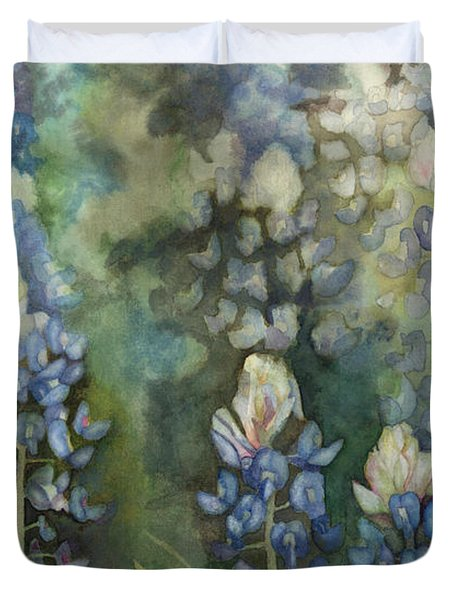 Duvet Cover featuring the painting Bluebonnet Blessing by Karen Kennedy Chatham