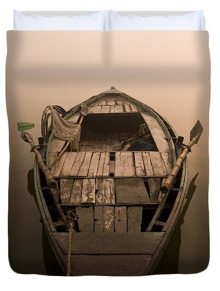 Boat In The Water, Varanasi, India Duvet Cover by Keith Levit