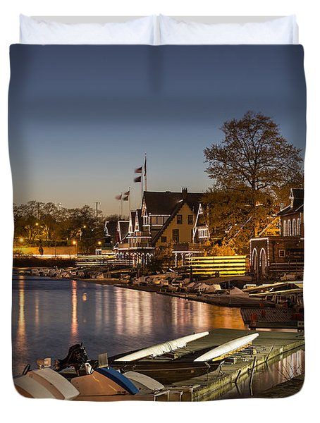 Boathouse Row Duvet Cover by John Greim