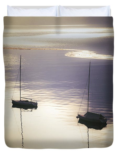 Boats In Mist Duvet Cover by Joana Kruse