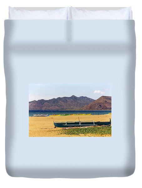 Boats On South China Sea Beach Duvet Cover by Amelia Racca