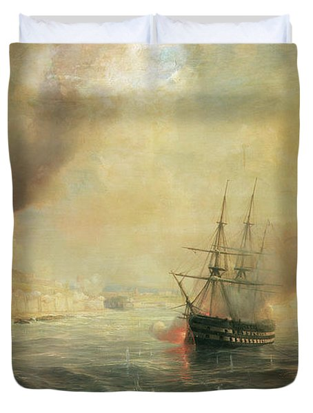 Bombardment Of Sale Duvet Cover by Jean Antoine Theodore Gudin