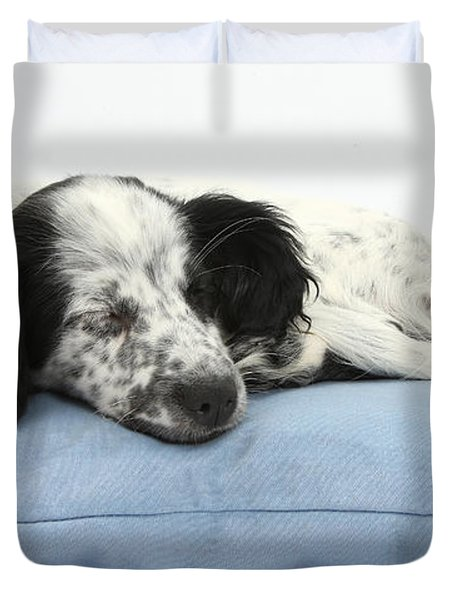Border Collie X Cocker Sleeping Puppy Duvet Cover by Mark Taylor