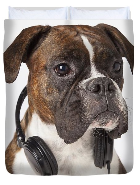 Boxer Dog With Headphones Duvet Cover by LJM Photo