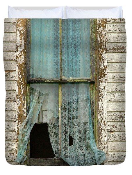 Broken Window In Abandoned House Duvet Cover by Jill Battaglia