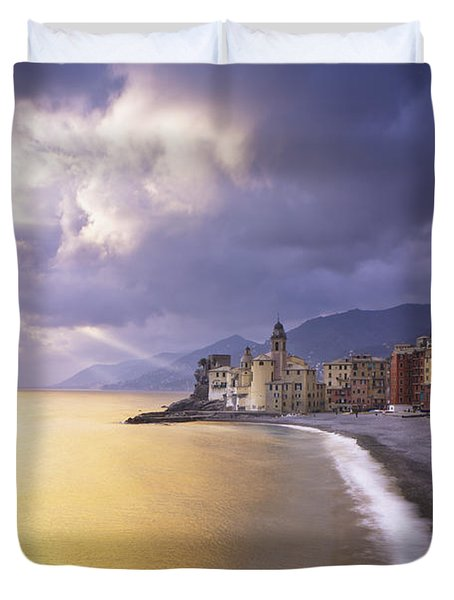 Buildings Along The Coast At Sunset Duvet Cover by David DuChemin