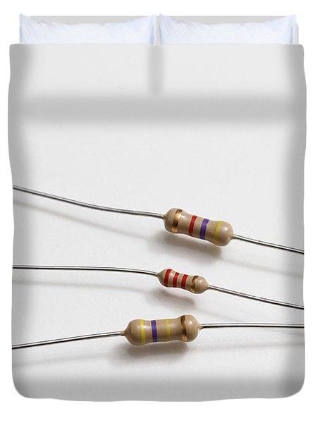 Carbon Film Resistors Duvet Cover by Photo Researchers, Inc.