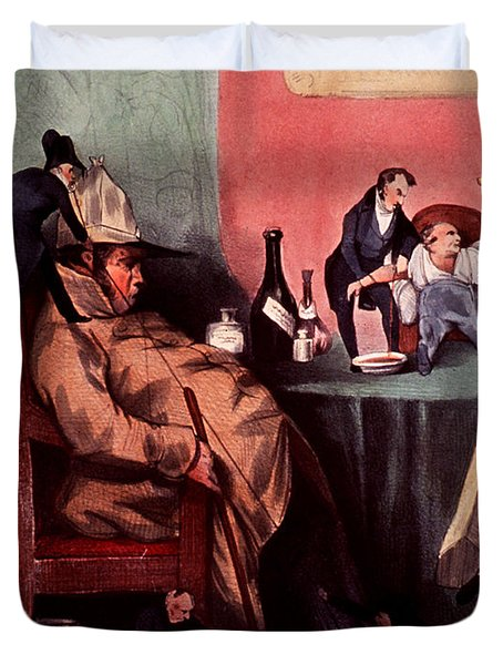 Caricature Of Hypochondriac, 1833 Duvet Cover by Science Source