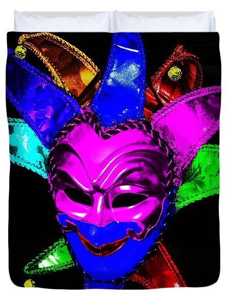 Duvet Cover featuring the digital art Carnival Mask by Blair Stuart