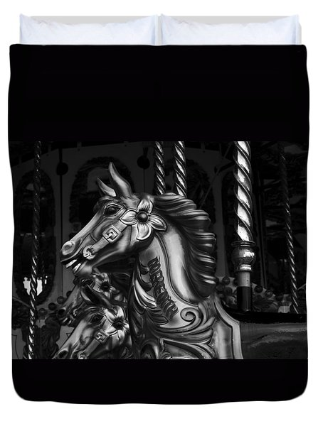 Duvet Cover featuring the photograph Carousel Horses Mono by Steve Purnell