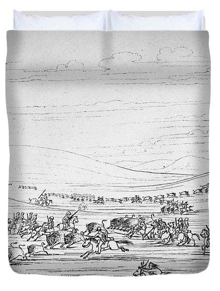 Catlin: Buffalo Hunt Duvet Cover by Granger