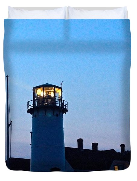 Chatham Light At Dusk  Duvet Cover by Justin Connor
