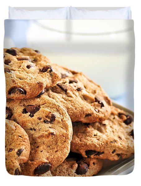 Chocolate Chip Cookies And Milk Duvet Cover by Elena Elisseeva