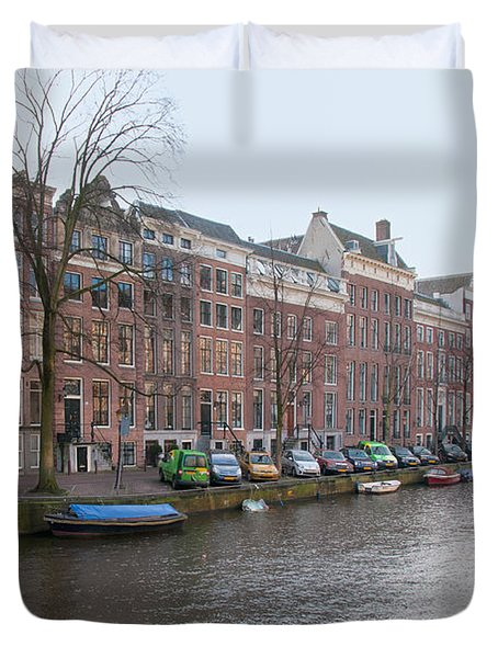 Duvet Cover featuring the digital art City Scenes From Amsterdam by Carol Ailles