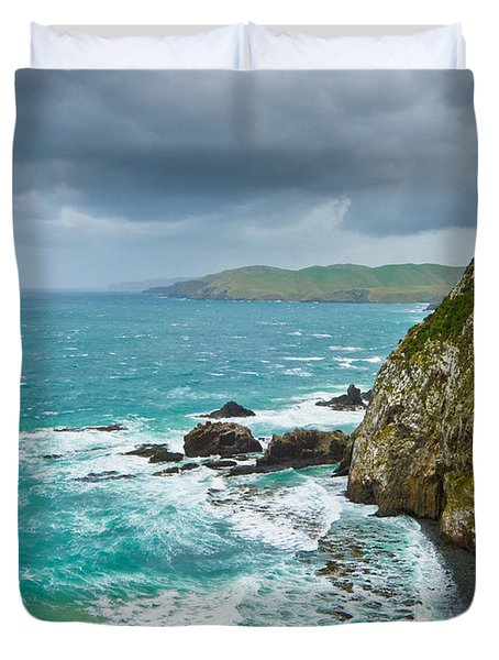 Cliffs Under Thunder Clouds And Turquoise Ocean Duvet Cover by Ulrich Schade