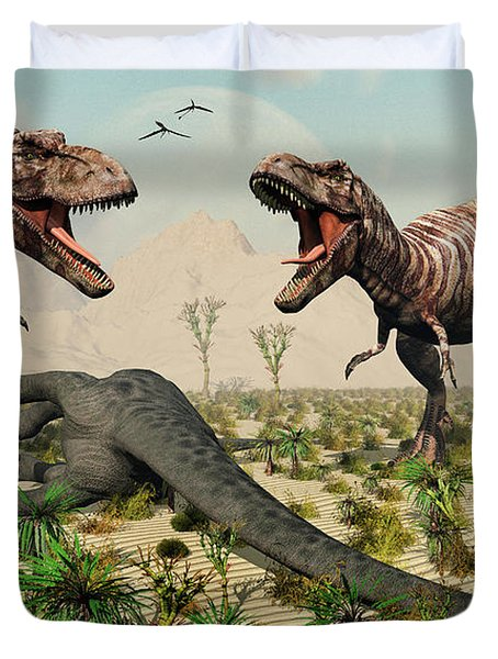 Confrontation Between A Pair Of T. Rex Duvet Cover by Mark Stevenson