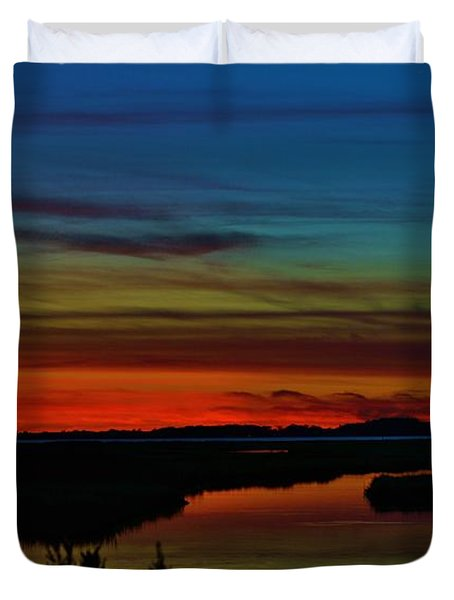 Deep Marshland Sunset Duvet Cover