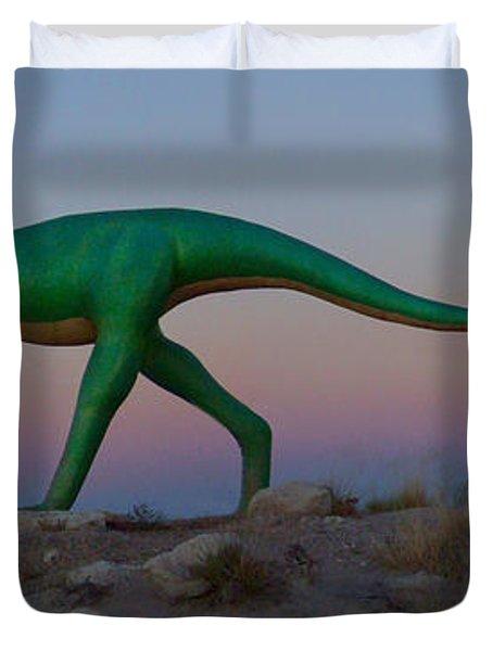 Dinosaur Loose On Route 66 Duvet Cover by Mike McGlothlen