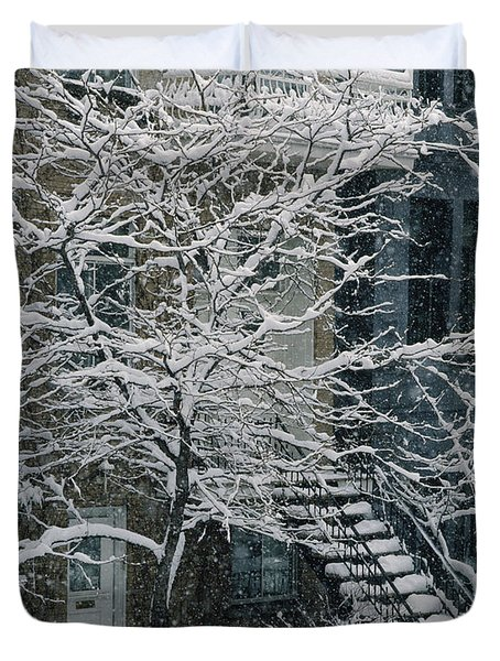 Drolet Street In Winter, Montreal Duvet Cover by Yves Marcoux