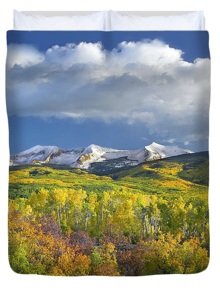 East Beckwith Mountain Flanked By Fall Duvet Cover by Tim Fitzharris