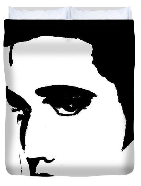Elvis In Black And White Duvet Cover