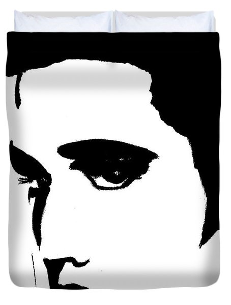 Elvis In Black And White Duvet Cover