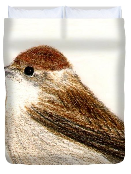 Duvet Cover featuring the drawing Female Blackcap  by Barbara Moignard