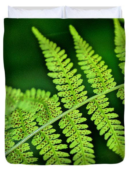 Duvet Cover featuring the photograph Fern Seed by Sharon Elliott