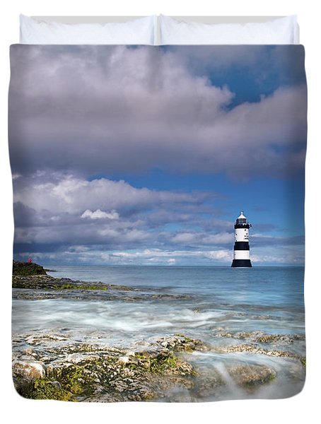 Fishing By The Lighthouse Duvet Cover