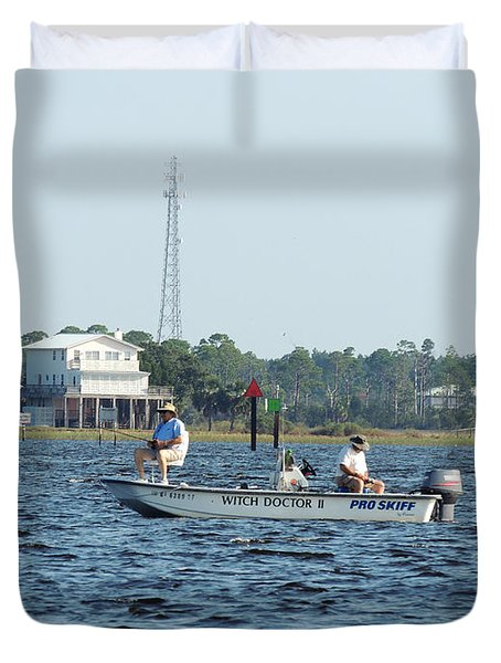 Fishing The Flats Duvet Cover by Marilyn Holkham