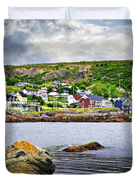 Fishing Village In Newfoundland Duvet Cover
