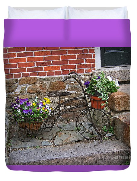 Flower Bicycle Basket Duvet Cover