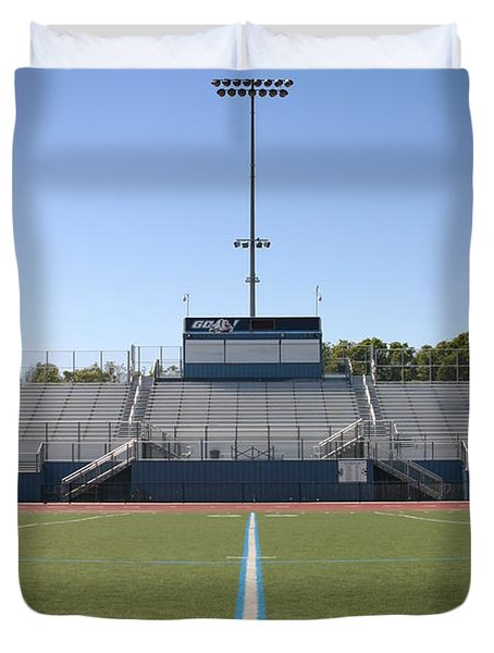 Duvet Cover featuring the photograph Football Field Fifty by Henrik Lehnerer