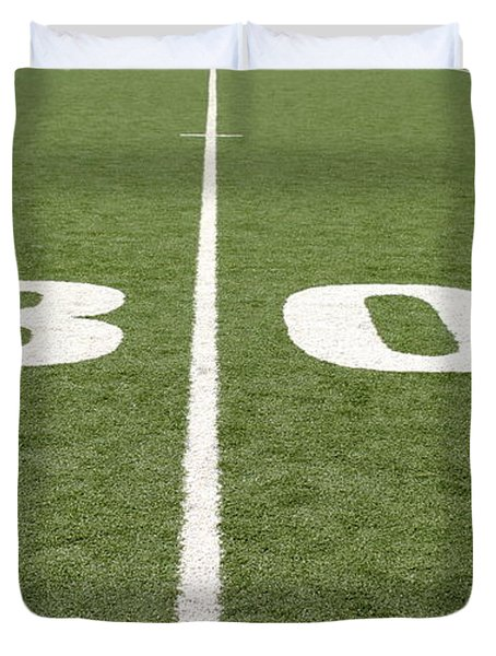 Duvet Cover featuring the photograph Football Field Thirty by Henrik Lehnerer